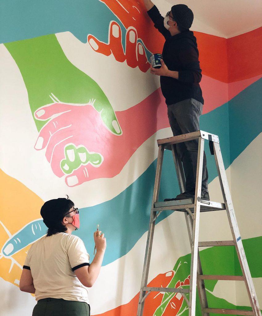 Artists Working On Mural Wall Art